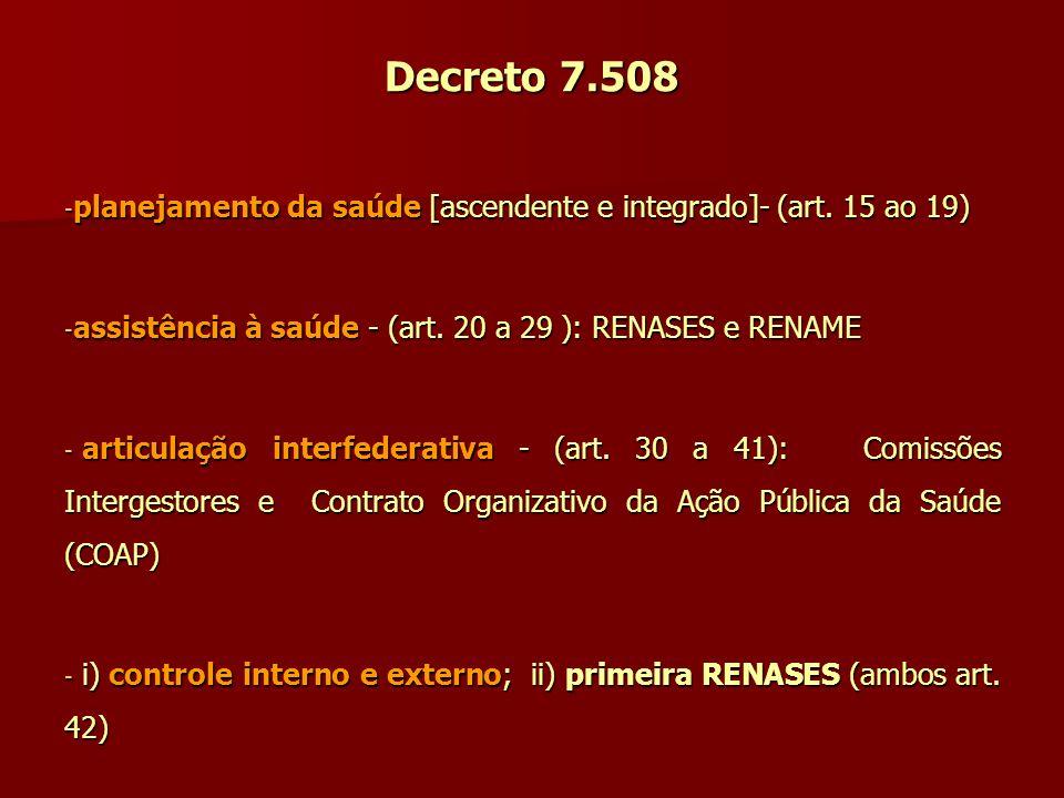 Decreto 7.508 planejamento da saúde [ascendente e integrado]- (art. 15 ao 19) assistência à saúde - (art. 20 a 29 ): RENASES e RENAME.